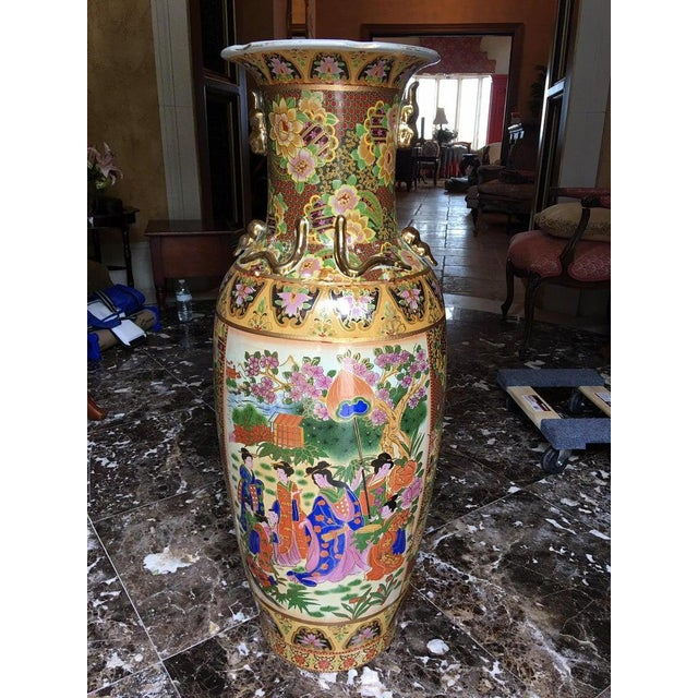 Tall Chinese Vases with Decorative Scenes, 20th Century - A Pair For Sale - Image 9 of 13