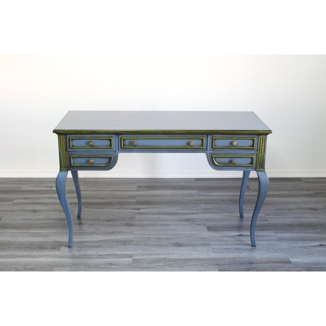 Mid Century Blue Painted Desk For Sale - Image 10 of 10