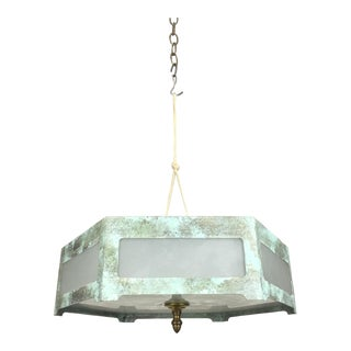 Hexagonal Tole Ceiling Mount Lamp For Sale