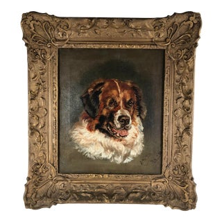 Late 19th Century Portrait of a Dog Oil Painting, Framed For Sale