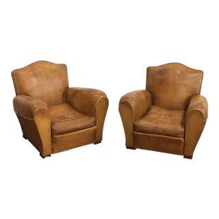 1920s Antique French Leather Mustache Chairs- a Pair For Sale