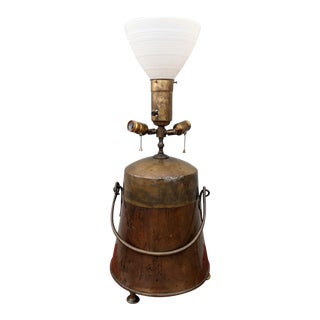 19th Century Dutch Copper Ash Bucket Table Lamp For Sale
