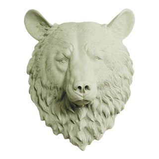 Wall Charmers Faux Sage Green Mini Bear Head Wall Sculpture For Sale