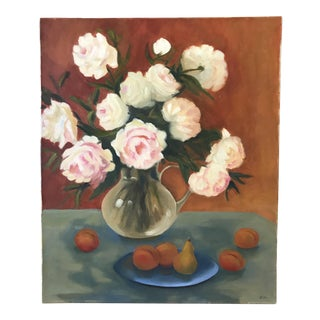 Late 20th Century Original Still Life with Peonies Oil Painting For Sale