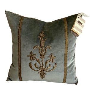 V.Biz Design Pillow With Antique Gold Metallic Embroidery on French Blue Velvet For Sale