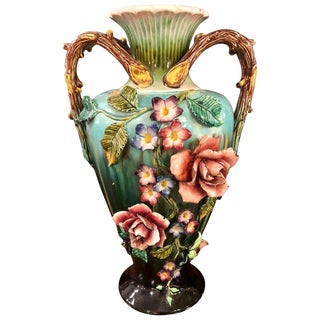 Palatial Majolica Vase With Flowers, 19th Century For Sale