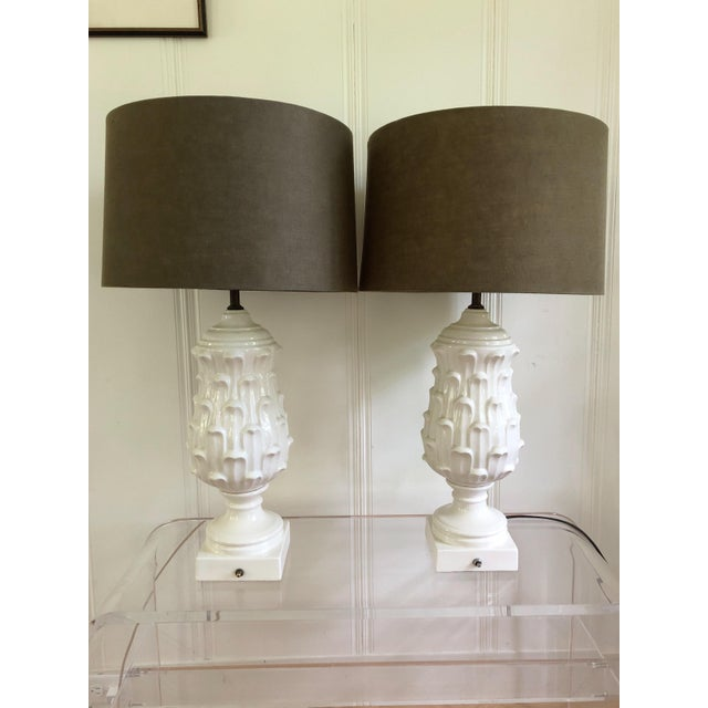 1960s 1960s Regency Ceramic Artichoke Lamps - a Pair For Sale - Image 5 of 5