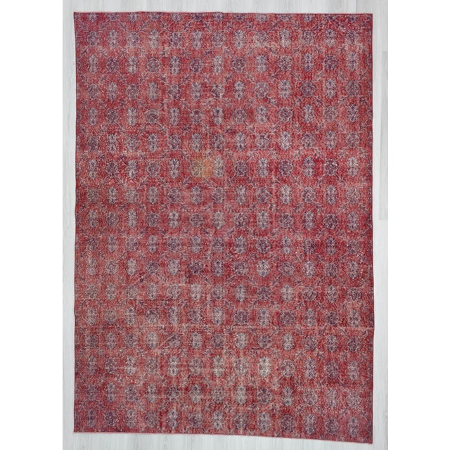 Hand Knotted Vintage Red Floral Designed Turkish Art Deco Rug - Image 2 of 6