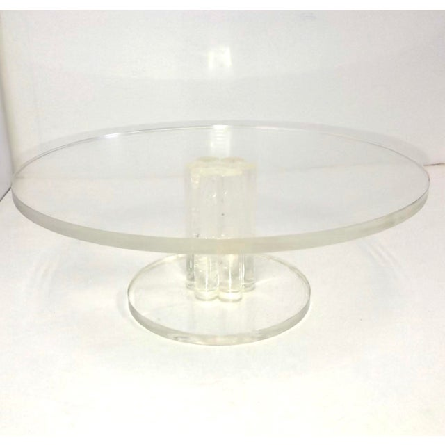 Vintage Lucite Round Footed Cake Stand For Sale In Buffalo - Image 6 of 6