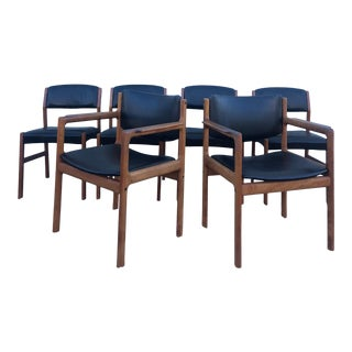 Set of 6 Danish Modern Teak Dining Chairs With Black Vinyl For Sale