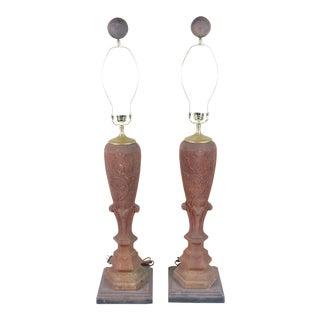 Antique Cast Iron Architectural Fragment Lamps - a Pair For Sale