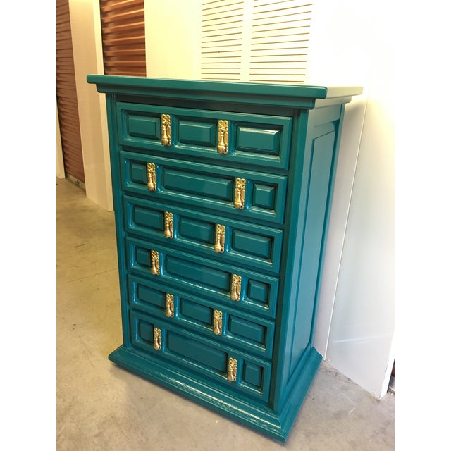 1970s Mid-Century Modern United Furniture Jade Green Lacquered High Boy Dresser For Sale - Image 9 of 9