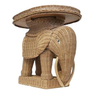 1970s Vintage Wicker Elephant Side Tray TableBoho For Sale