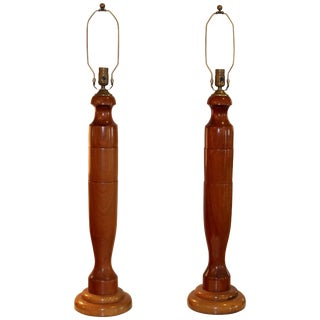 1940s, Tall Walnut Table Lamps For Sale
