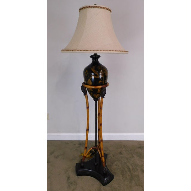 Traditional Maitland-Smith Faux Bamboo Tripod Single Light Floor Lamp With Amphora-Style Vase Center Marble Base For Sale - Image 3 of 12