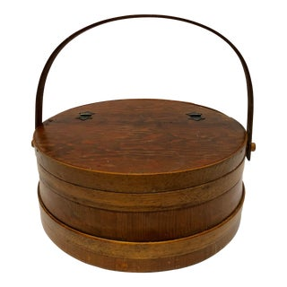 1930s Shaker Firkin Wood Sewing Basket For Sale