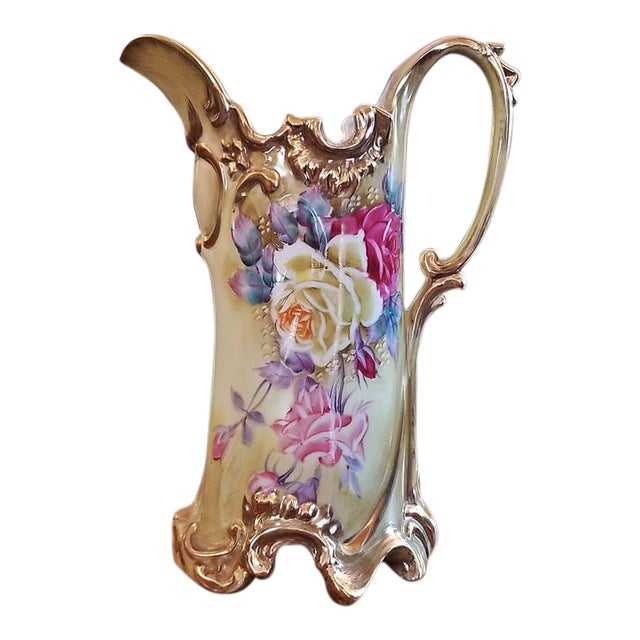 Early 20c Nippon Handpainted Porcelain Pitcher/Jug For Sale