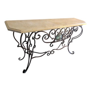 French Style Console With Stone Top and Iron Base For Sale