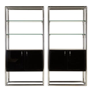Pair of Chrome and Jet Black Lacquered Etagere 1950s