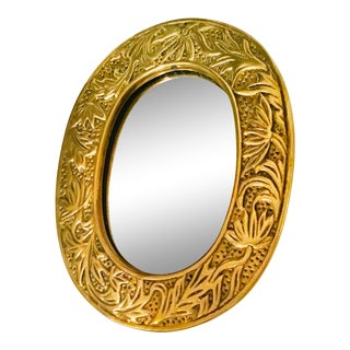 Petite Oval Solid Brass Mirror/ Picture Frame For Sale