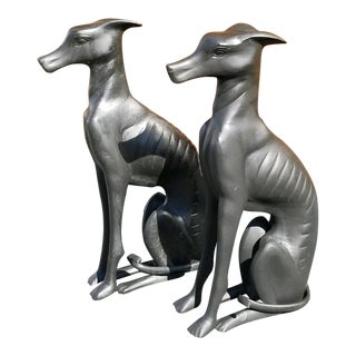 Vintage Bronze Black Greyhound Dog Statues - a Pair For Sale