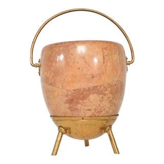 Pedestal Bucket Catch It All Pot in Goatskin W/ Brass by Aldo Tura Italy 1960s For Sale