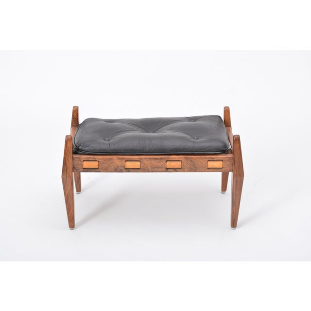 Black Vintage Leather Ottoman/ Foot Stool, Attributed to Sergio Rodrigues For Sale - Image 12 of 12