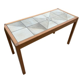 Mid Century Modern Teak With Tile Inset Console Table For Sale