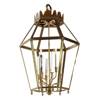 1960s Vintage Hexagonal Brass Lantern For Sale