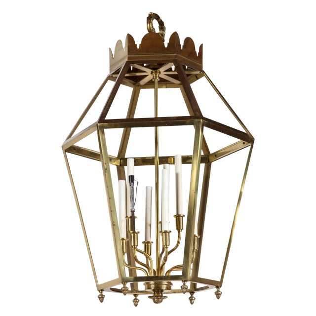 1960s Vintage Hexagonal Brass Lantern For Sale