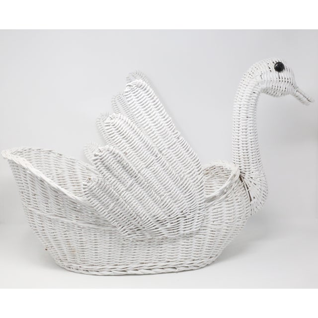 Farmhouse Vintage Large White Wicker Swan Basket For Sale - Image 3 of 11