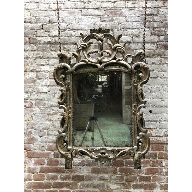 Rare 18th Century Louis XV Mirror Silver Leaf Gilded For Sale - Image 10 of 11