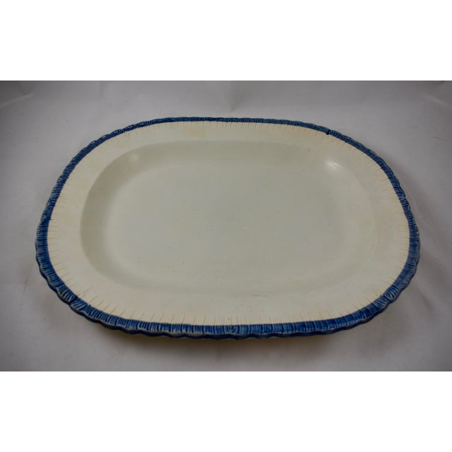 19th C. Leeds Blue Feather or Shell Edge Pearlware Oval Platter For Sale - Image 4 of 9