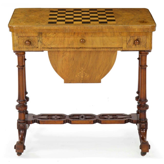 Early Victorian Figured Walnut Antique Games and Work Table, Circa 1860-80 For Sale - Image 13 of 13