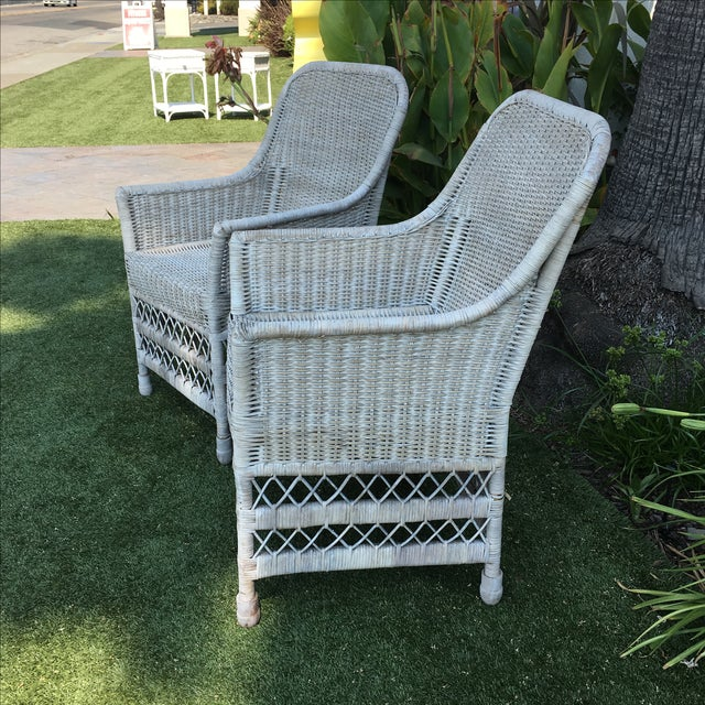 Shabby Chic White Wicker Chairs - a Pair - Image 3 of 7