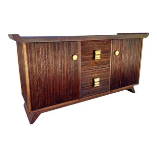 Vintage Paul Frankl Credenza for Brown Saltman of Combed Mahogany Mid Century Modern For Sale