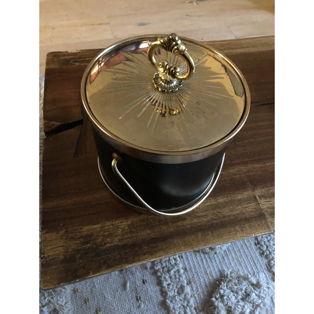 1960s Faux Leather & Gold Ice Bucket For Sale - Image 4 of 9