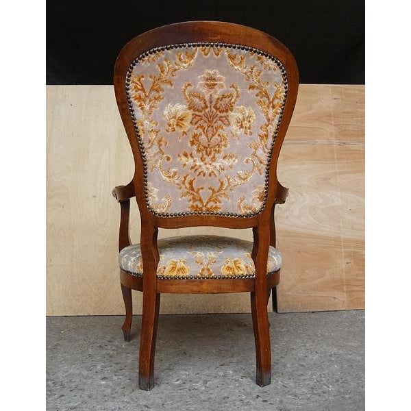 Antique Elegant French Louis XV Style Original Floral Upholstery Walnut Armchair For Sale - Image 4 of 13