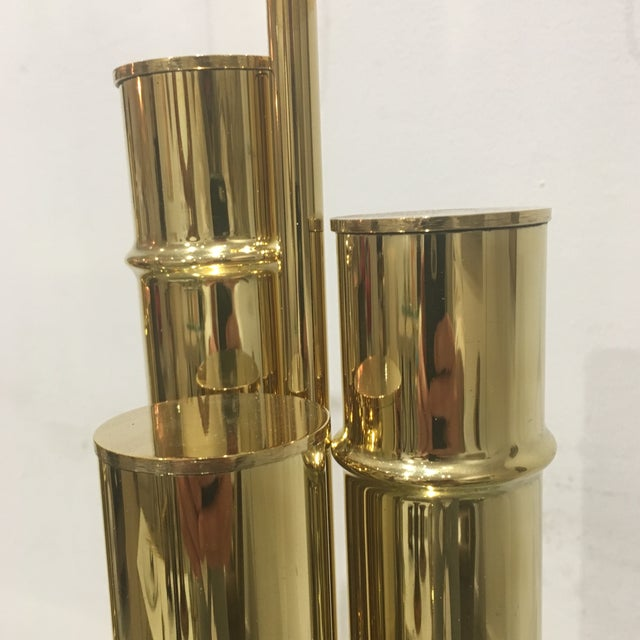 Metal 1960s Italian Brass Faux Bamboo Lamps - a Pair For Sale - Image 7 of 11