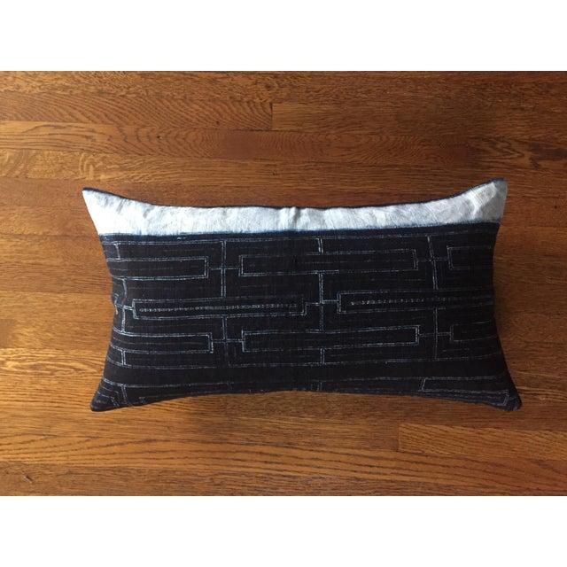 Rustic Indigo Stripe Hmong Lumbar Pillow Cover - Image 5 of 8