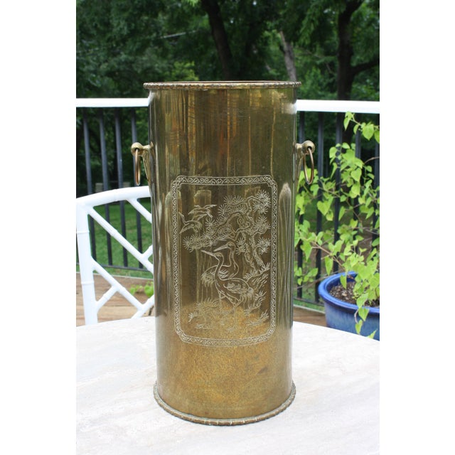 Mid-Century Brass Chinoiserie Umbrella Stand - Image 2 of 9
