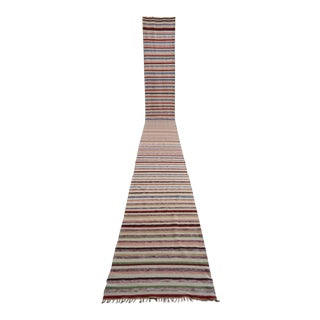 Vintage Turkish Handmade Striped Extra Long Runner Stair Tread- 2′4″ × 24′7″ For Sale