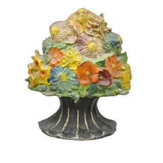 "Antique Victorian Cast Iron Hubley Flower Bouquet Small 7.5"" Doorstop/Bookend For Sale"
