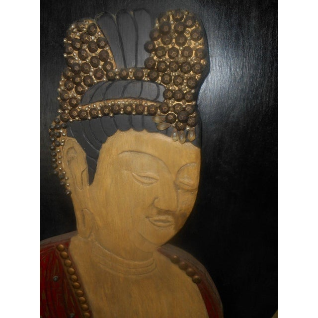 Vintage Oriental 3D Handcarved Wood Wall Sculpture - Image 5 of 6