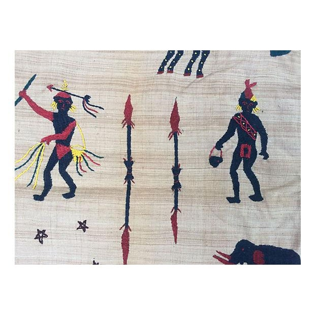 Naga Hill Tribe Primitive Embroidered Story Throw For Sale - Image 5 of 5