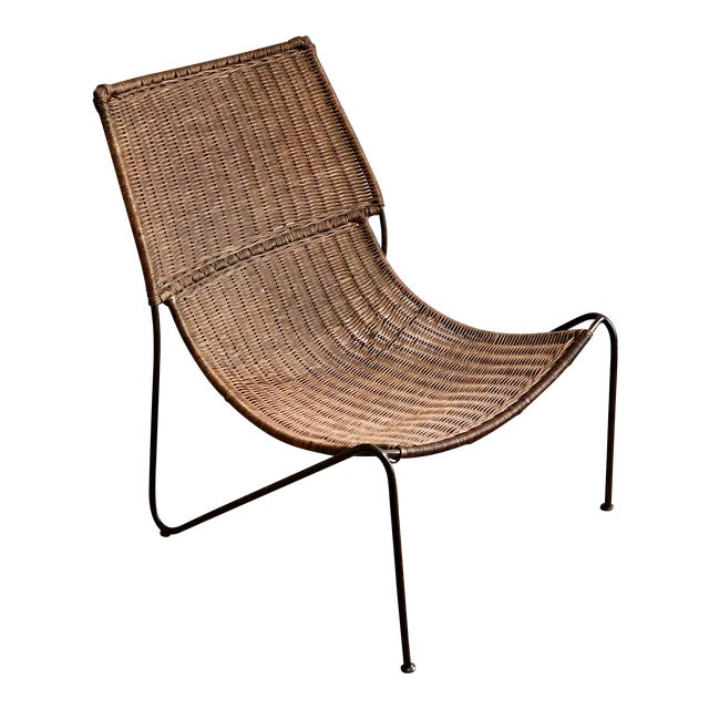 Wicker and Iron Lounge Chair For Sale