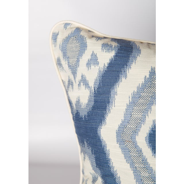 Custom Blue & Ivory Ikat Pattern Pillows - A Pair - Image 2 of 4
