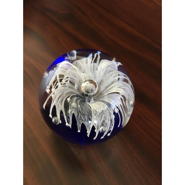 Italian Cobalt Blue Glass Art Paper Weight With Fringed White Flower For Sale - Image 3 of 9