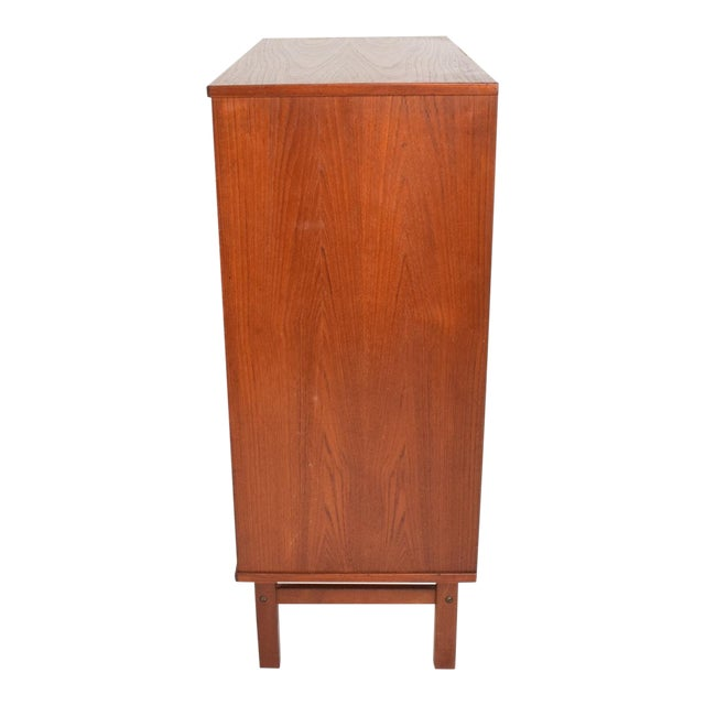 For your consideration, a midcentury Danish modern teak dresser tall highboy by Nils Jonsson. Beautiful dovetail...