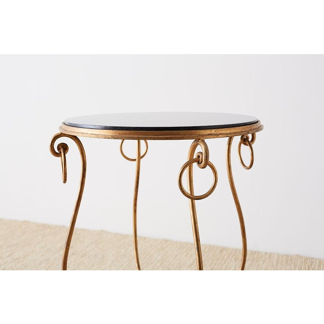 Rene Drouet Style Gilded Iron and Granite Table For Sale In San Francisco - Image 6 of 13